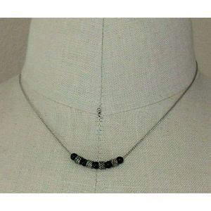"""Napier Silver Chain With Black Textured Beads 18"""""""